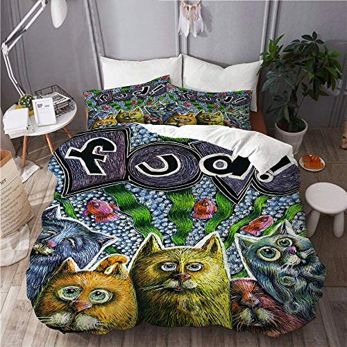 HARXISE Duvet Cover Set Cats Fish Ribbon Bubbles Humor Whimsical Animals Home Hotel Dorm Decorative 3pcs Bedding Set Matching Size