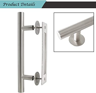 12'' Stainless Steel Flush Barn Door Handle Set Brushed Nickle 7.4 inch Hole Centers Sliding Door Pulls Glass Door Pulls
