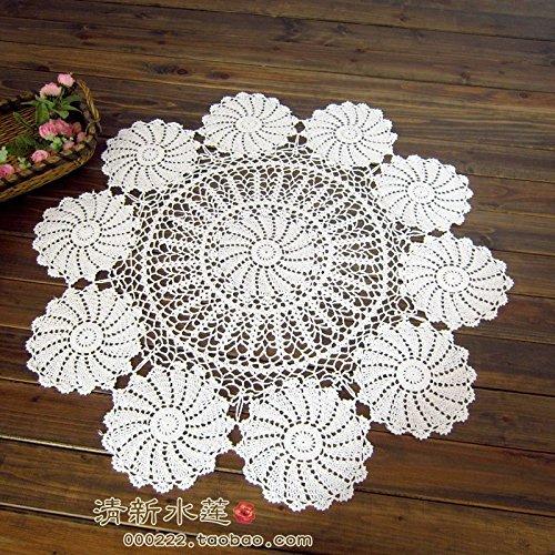 BLUELSS Neue Ankunft Baumwolle Tischdecke mit Blumen häkeln runde Tischdecke Ausschnitt aus Gewirken Tischläufer table mat Tischdecke, weiß, 110 cm.