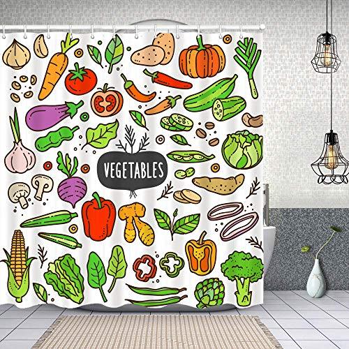 Dfform Duschvorhang,Gemüse Gekritzel Zeichnung Sammlung Gemüse wie z,Waschbar Shower Curtains Wasserdicht & mit 12 Ringe Bad Vorhang 180x180cm