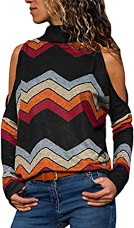 Chunmei T Shirts Jumpers Women Long Sleeve Top Loose Striped High Neck Sexy Off Shoulder Lightweight Breathable Sweatshirt...