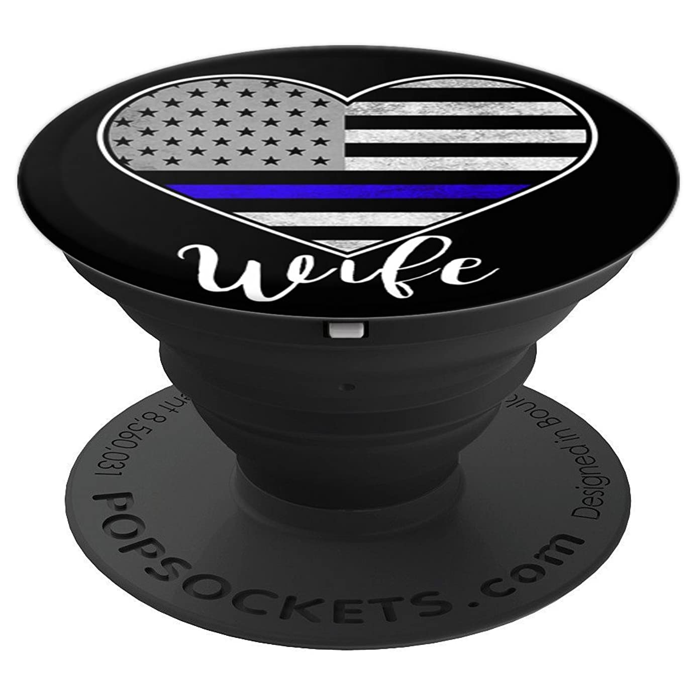 Policeman Spouse US Flag Thin Blue Line Police Wife Gift - PopSockets Grip and Stand for Phones and Tablets