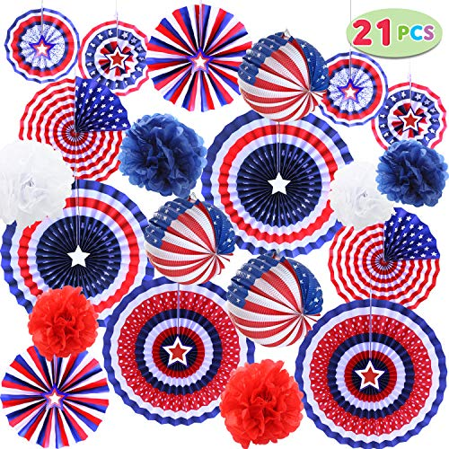 JOYIN 21 Pcs Patriotic Party Supplies 12 Paper Fan, 6 Flower Ball, 3 Flag Ball for 4th of July,...