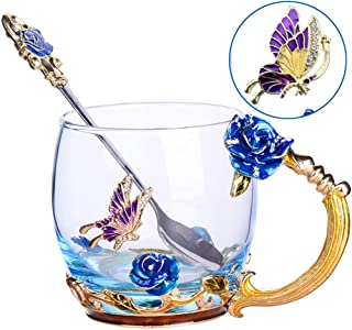Tea Cup Coffee Mug Cups, Clear Glass Coffee Cups Tea Mugs with Spoon Set Handmade Enamel Butterfly Rose Flower,12 oz (Blue Rose) Ideal for Friend Wedding Anniversary Birthday Presents