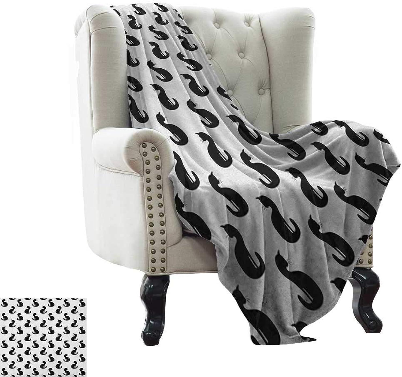 BelleAckerman Summer Blanket Cat,Silhouette of a Kitten Monochrome Feline Pattern House Pet Illustration Halloween, Black White for Bed & Couch Sofa Easy Care 60 x62