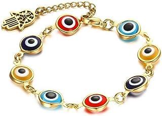 Max corner Evil Eye Bracelet, Hamsa Fatima Hand Turkish Pendant Bead Charm Adjustable Jewelry for Women