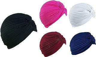 5 Women Stretchy Turban Chemo Cap Bennie Head Wrap Headwear