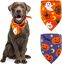 Halloween Dog Bandana Triangle Bibs with Pumpkin Bat Spider Ghost Pattern Washable Scarf Accessories Purple and Orange