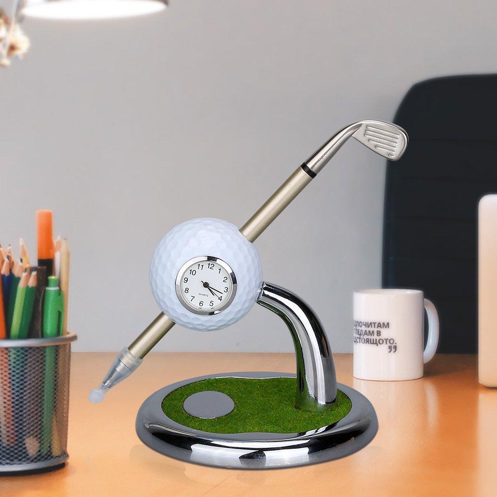 World 9.99 Mall Golf Gift Mini Desktop Golf Clock Ball Pen Stand With Golf Pens & Presents for Best Men: Amazon.co.uk