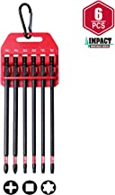 Protorq Long Impact Bit Set W/clip, 2 Phillips, 2 Square, T25 TORX, 6-Inch Length, 6-Piece,Industrial Strength, 1/4
