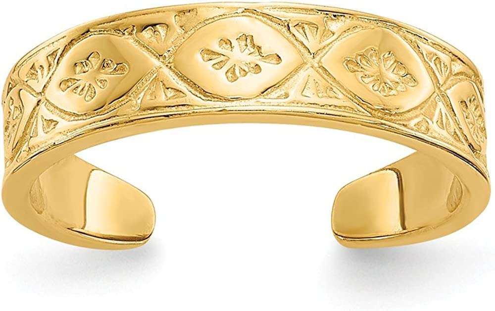 Jewels By Lux 14K Gold Polished Wave w/flower Center Toe Ring