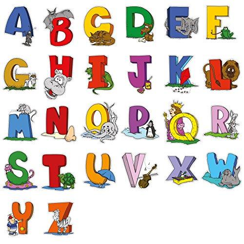 lepni.me Adesivo da Parete Alphabet with Pictures Art Sticker - Wall DIY Graphics Decor, Wall Decoration Wallpaper, Vinyl Stickers (Large - 133 cm (52.4 in)/ 55 cm (21.6 inch) Multicolor)