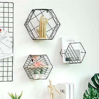 Mallalah Etagères Murales Tenture Décoration Grille Figure Géométrique Hexagone Fer Forgé Livres Salon Chambre Casier Rang...
