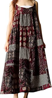 Women Bohe Long Plus Size Linen Strappy Loose Vintage Sleeveless/Long Sleeve Dress