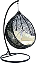 Bahama Outdoor Wicker Hanging Egg Chair with Stand, Black with Vanilla Cushions - Egg Chairs - Bay Gallery Furniture