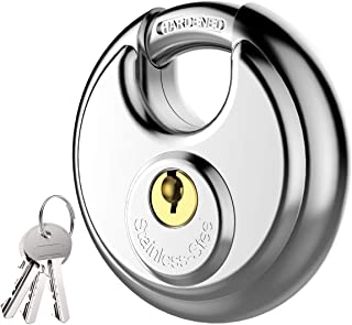 Puroma Keyed Padlock, Stainless Steel Discus Lock with 3/8-Inch Shackle for Sheds, Storage Unit, Garages and Fence