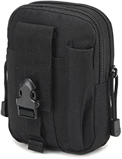 Tactical Waist Pack Multi-Purpose Tool Holder Pouch Durable Utility Army Camo Molle Bag with Zipper Nylon Tool Holder EDC Pouch Mobile Phone Belt Bag for Military Camping Hiking BackpackHGJ08-US Black