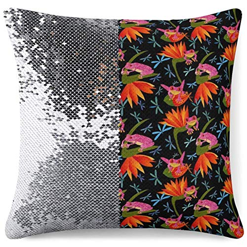 Sequin Pillow Cover Decorative Mermaid Throw Cushion Case Bountiful Frogs Silver Glitter Pillowcase Funny Gift (16 in x 16 in) 40 cm x 40 cm