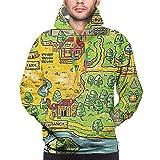 Yjt28 Stardew-Valley Men's Warm Hoodie Pocket Classic Sweater Printed Hooded for Teens Boys Xx-Large Black