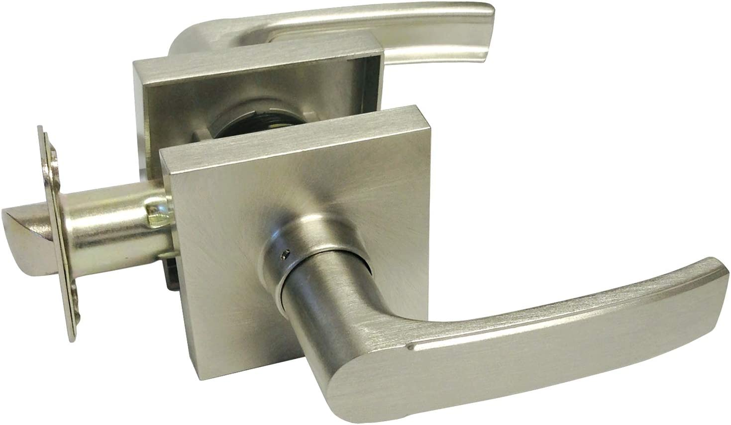 2 Pack Satin Nickel Passage Max 58% OFF Square Ranking TOP14 Knob Lever Door Handle Plate