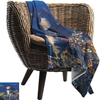 Custom Sofa Bed Throw Blanket,Night,Aerial View of Mountain Sugar Loaf and Botafogo Rio de Janeiro,Violet Blue Marigold Light Grey,300GSM,Super Soft and Warm,Durable Blanket 30