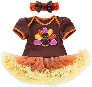Newborn Baby Girl Halloween Outfit Long/Short Sleeve Pumpkin Romper with Bowknot Headband