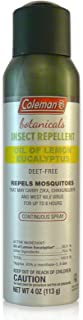 Coleman Lemon Eucalyptus Naturally-based DEET Free Insect Repellent Spray - 4 oz Continuous Spray