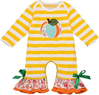 Toddler Baby Halloween Pumpkin Striped Ruched Jumpsuit Romper Clothes for 0-2 Years Old,SIN vimklo