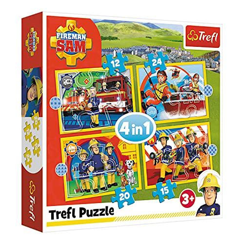 Trefl, 34373 Puzzle, Hilfreicher Feuerwehrmann Sam, von 12 bis 24 Teilen, 4 Sets, für Kinder ab 3 Jahren