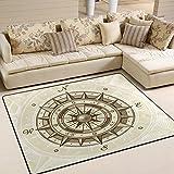 LORVIES Vintage Compass Area Rug Carpet Non-Slip Floor Mat Doormats for Living Room Bedroom 63 x 48 inches