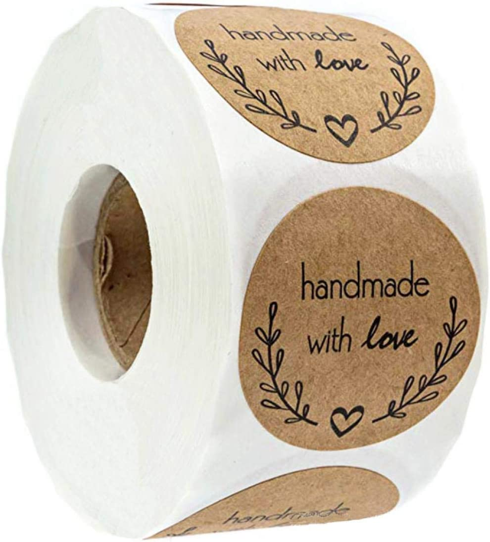 """Louise Maelys 1"""" Kraft Paper Round Sealing Stickers Handmade with Love Sticker Labels for Gift Wrapping or Craft Making 500pcs per Roll"""