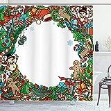 ABAKUHAUS Kinder Weihnachten Duschvorhang, Urlaub Symbole, Moderner Digitaldruck mit 12 Haken auf Stoff Wasser & Bakterie Resistent, 175 x 200 cm, Multicolor