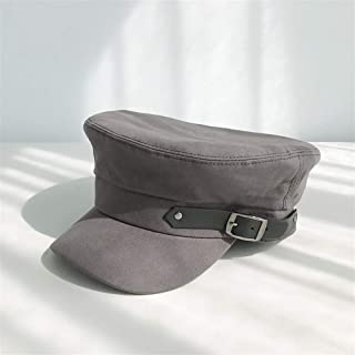 ZiWen Lu 2019 Winter New Korean Cotton Side Leather Buckle Navy hat Female Wild red Flat-Topped Berets net Korean Wave (Color : Grey, Size : One Size)