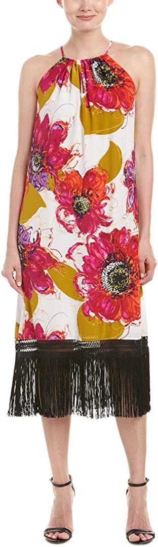 Trina Turk Women's Vivianna Bela Roseta Silk Crepe De Chine Fringe Dress