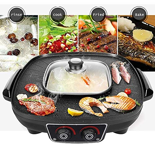 Beruf BBQ Grill 2 in 1 Barbecue Hot Pot for Zuhause-Party-Picknick, Temperatur Indoor Teppanyaki Grill DYWFN