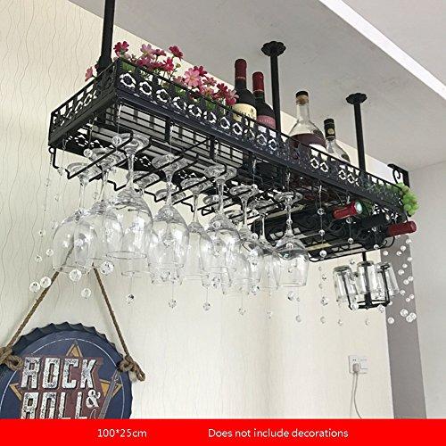 YAXIAO Europäische Bar Rotwein Becherhalter Umgedreht Home Rack Weinglas Dekorrahmen Ausstellungsstand, 100 × 25 cm Weinflaschenhalter (Color : Black, Size : 100 * 25cm)