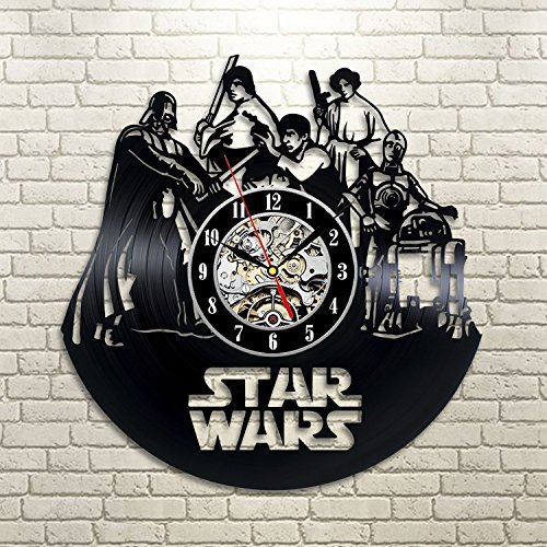 Star Wars Death Star Darth Vader Luke Skywalker Movie Characters Vinyl Record Design Wall Clock - Decorate your home with Modern Famous Star Wars Art