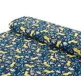 Nadeltraum Baumwoll - Jersey Stoff Leopard Tiere blau -
