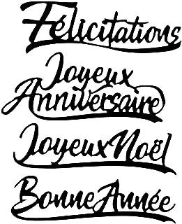 Lot de 4 Matrices de découpe Lettres de vœux | Dies Scrapbooking | Félicitations, Joyeux Anniversaire, Joyeux Noël, Bonne ...