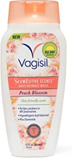 Vagisil Scentsitive Scents Daily Intimate Feminine Vaginal Wash, Peach Blossom, 12 Fluid Ounce