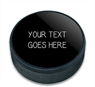 Graphics and More Personalized Custom Black Background Any Occasion Ice Hockey Puck
