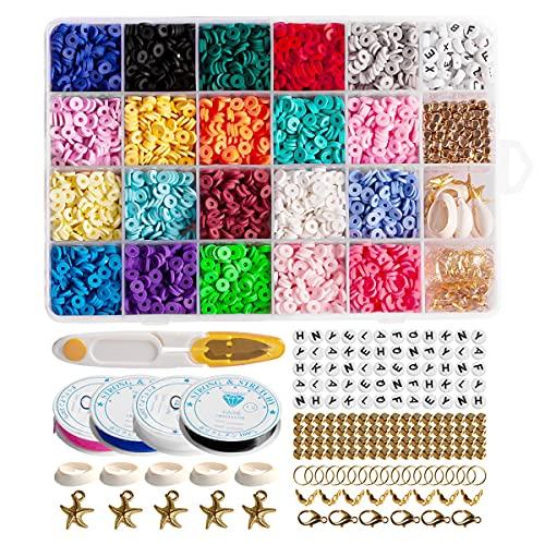 Espaciador de arcilla de polímero de 6 mm para bricolaje con cuentas planas y redondas de arcilla de polímero para hacer joyas y pulseras