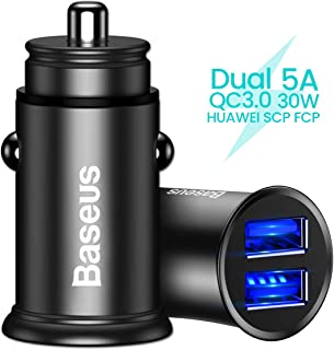 Baseus シガーソケット USB カーチャージャー 車載充電器 Quick Charge 3.0 5A/30W Huawei SCP FCP Samsung AFC 対応 超小型 急速充電 Huawei Mate 20 X P30 Pro Galaxy S10 Note 10 Xperia Ace XZ3など機種適用 (ブラック)