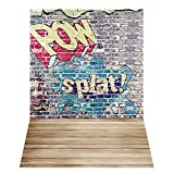 Andoer 1.5 * 2.1m / 5 * 7 pies Fondo de Fotografía de Graffiti Callejero Garabato de Garabato Pared de Ladrillo Piso de Madera Contexto Estudio de Fotos Apoyos