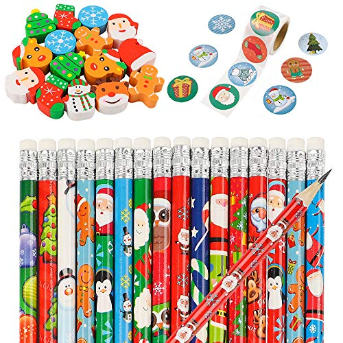 EOOUT 48 Christmas Pencils, 48 Christmas Erasers and 1 Roll Christmas stickers, Christmas Stationery Set for Party Favors, Prize for Kids, Teachers, Schools, Classroom Supplies