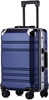 """SRY-Luggage PC Material Simple Trolley Case, Aluminum Frame Luggage, Roller Walking Rolling Box, 20"""" 24"""" Inches Durable Carry on Luggage (Color : Blue, Size : 24inch)"""