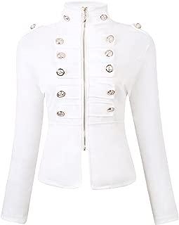 Women's Zip Front Stand Collar Military Light Jacket Zip Up Blazers