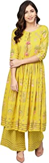 Ahalyaa Women Yellow Frock Suit with Plazzo