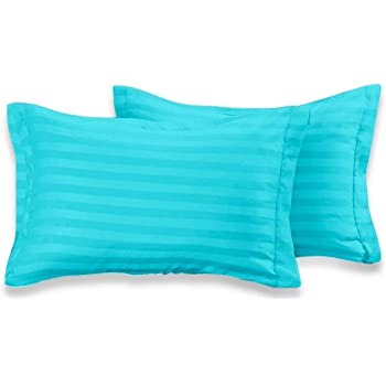 Cloth Fusion Satin Stripe 210 TC Cotton Pillow Cover Set of 2 (18 x 27 Inches - Sea Green)