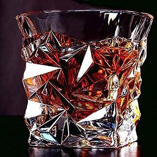 Xeknty Diamond Shaped Whiskey Glass, Unique Cool Crystal Rocks Whiskey Glasses Set of 6 for Scotch, Bourbon, Vodka, Liquor...